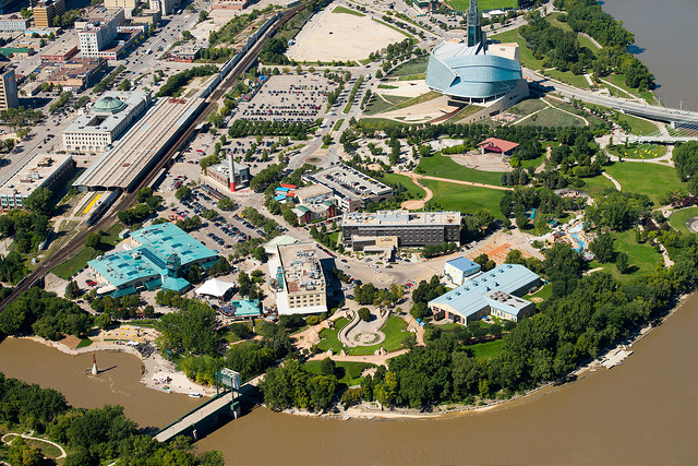An aerial view of The Forks site