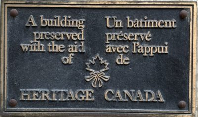 The plaque at Heritage Winnipeg