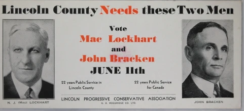 Card for the 1945 federal election. Bracken was running as leader of the Progressive Conservatives.