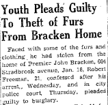Winnipeg Free Press article on the burglary at Bracken House.