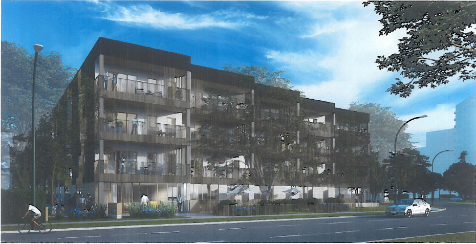 An artist's rendering of the condo complex replacing the three historic homes on Stradbrook Avenue