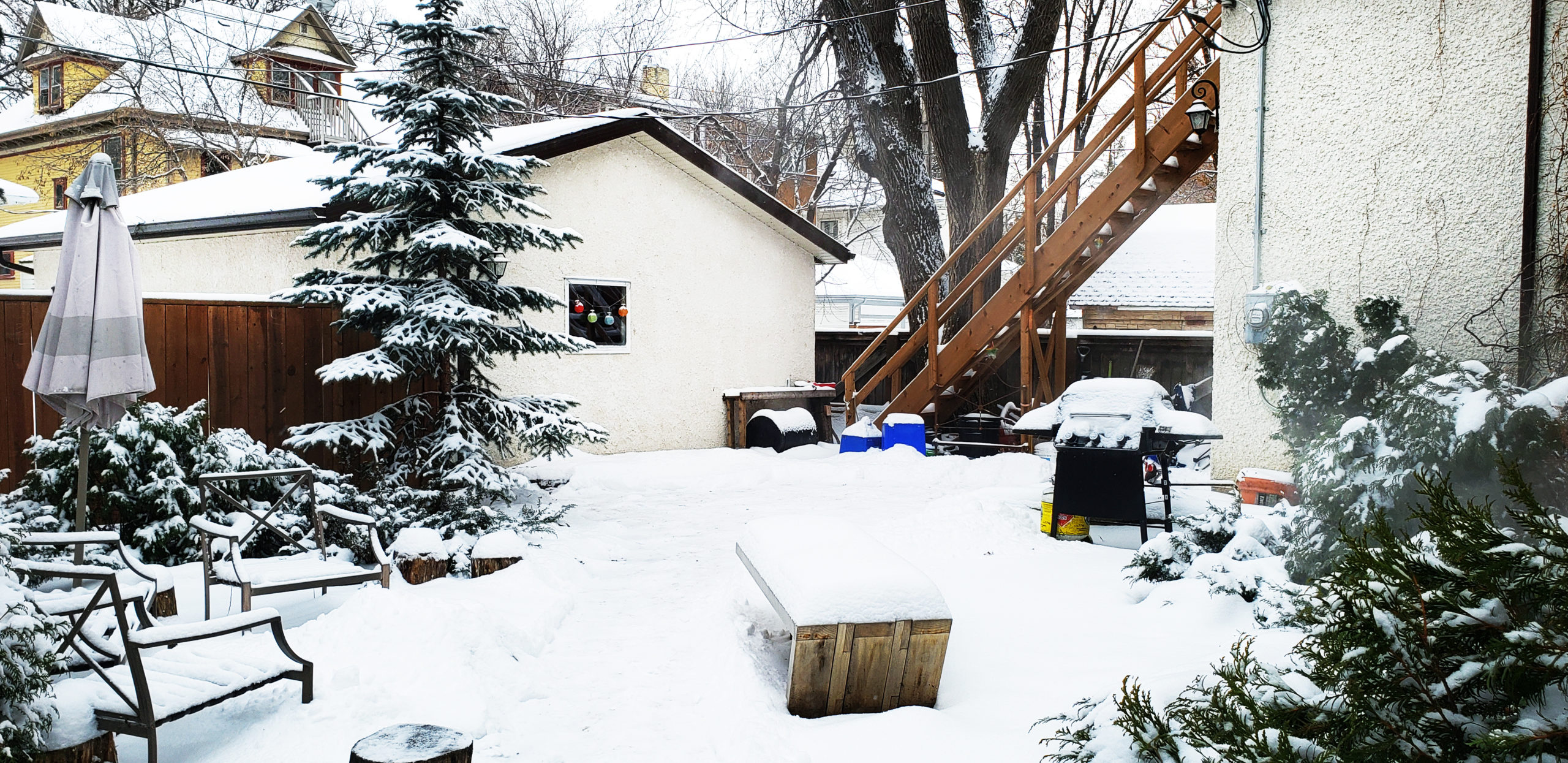 Backyard of 604 Stradbrook, showing the entrance to the upper unit.