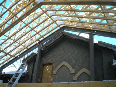 New construction of the new roof of the WECC