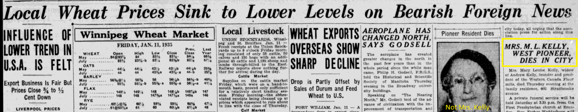 Mrs. Kelly's Obituary alongside wheat/grain prices