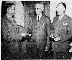 Norman W. Douglas (left), C.S. Riley (centre), Albert J. Gilbert (right)