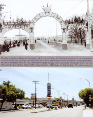 Then vs now of St. Mary's Road and Carriere Avenue from 1913.