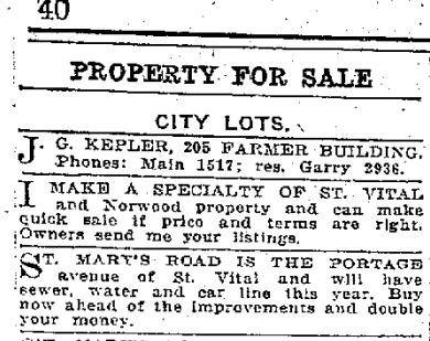 Winnipeg Free Press ad from Jan 11, 1913