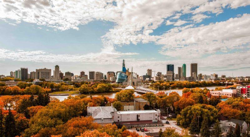 A bird's eye view overlooking Winnipeg during fall